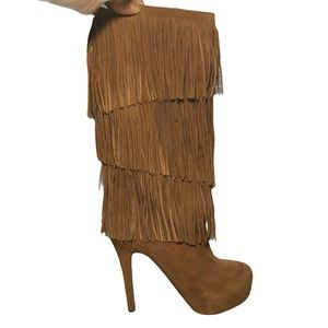 MOJO MOXY Camel Brown Suede Boots W Fringe